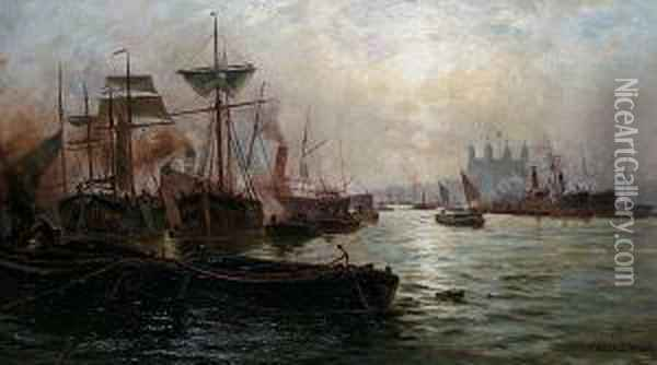 Shipping On The Thames, With The Tower Beyond Oil Painting - Charles John de Lacy