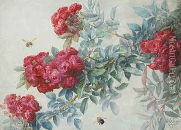Red Roses And Bumblebees Oil Painting - Paul De Longpre