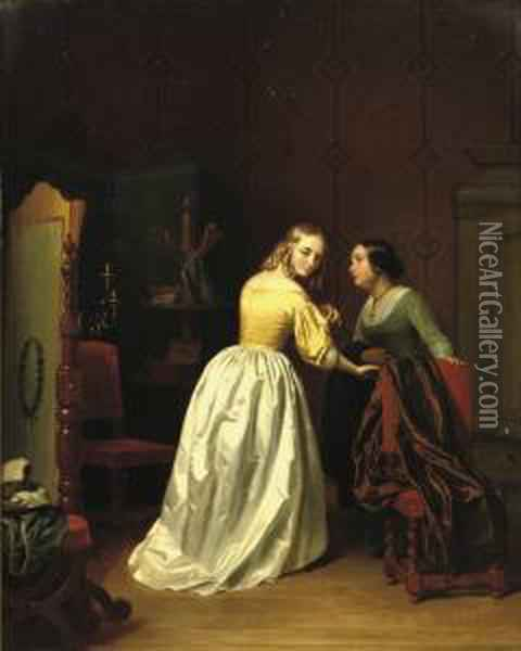 At The Dressmakers Oil Painting - Basile De Loose