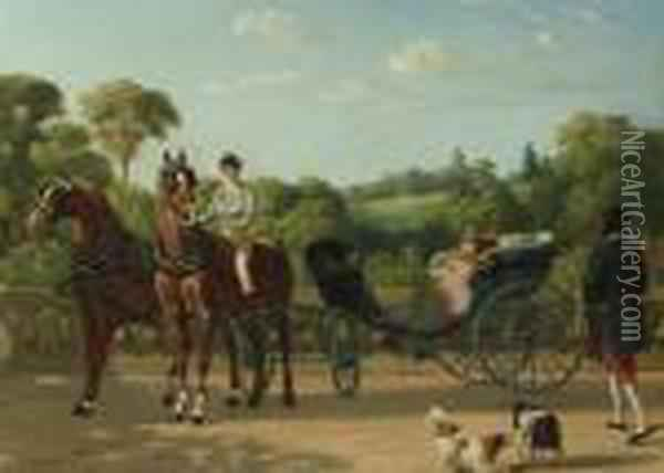 Preparing The Carriage; And A Ride In The Country Oil Painting - Henri D'Annecy (Comte De) Montpezat