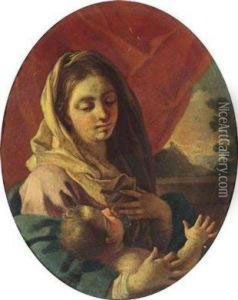 Madonna With Child Oil Painting - Francesco Solimena