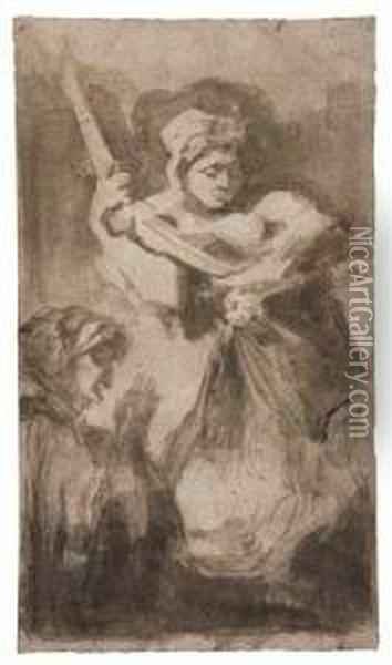 Group Of 4 Drawings Oil Painting - Francisco De Goya y Lucientes