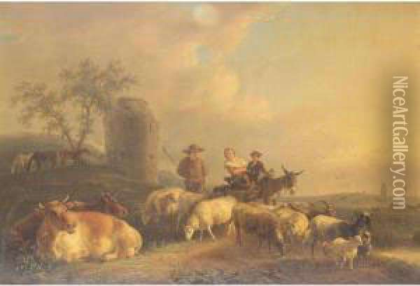 Dutch Landscape With Drover And Sheep Oil Painting - Jean-Baptiste De Roy