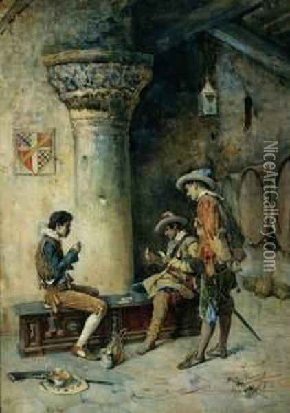 The Card Game 1883 Oil Painting - Publio Tommasi