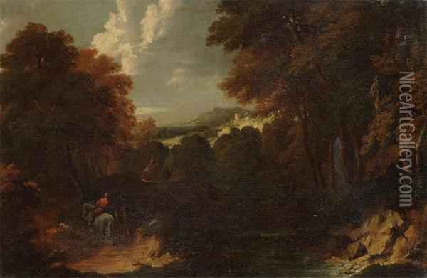 Attributed Wooded Landscape With Horsemen Oil Painting - Lodewijk De Vadder