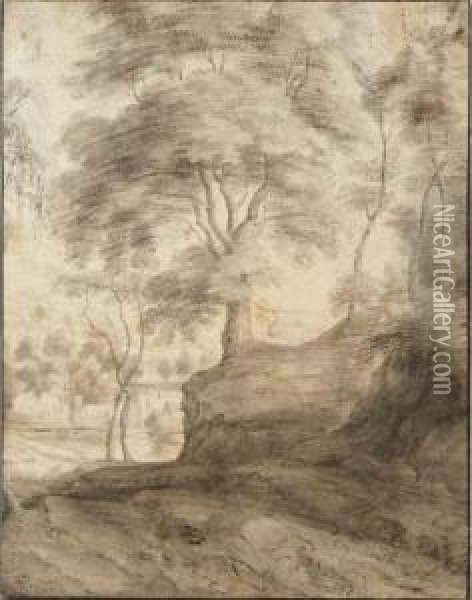 View Of Trees On The Edge Of A Village Oil Painting - Lodewijk De Vadder