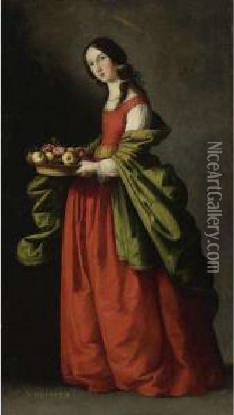 Saint Dorothy, Full-length, Holding A Basket Of Apples Androses Oil Painting - Francisco De Zurbaran