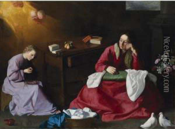 Christ And The Virgin In The House Of Nazareth Oil Painting - Francisco De Zurbaran