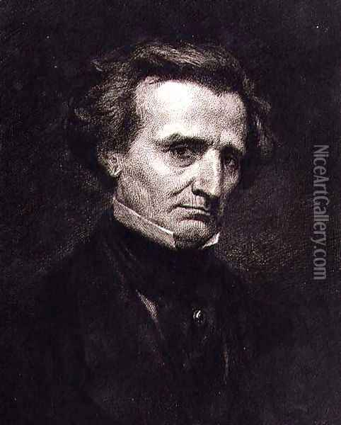 Portrait of Hector Berlioz (1803-69) engraved by A. Gilbert, pub. in the 'Gazette des Beaux-Arts' Oil Painting - Jean-Baptiste-Camille Corot