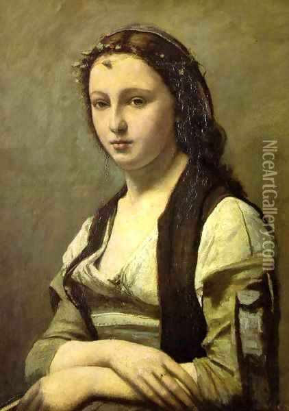 Woman with a Pearl Oil Painting - Jean-Baptiste-Camille Corot