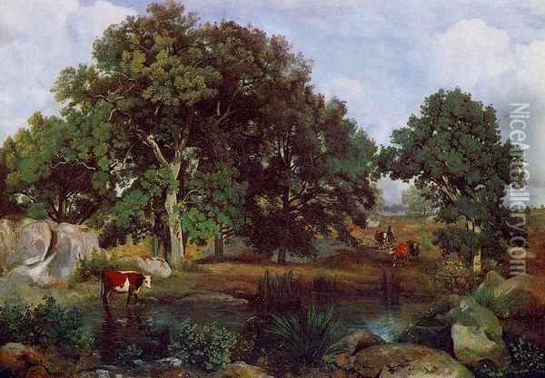 Forest of Fontainebleau Oil Painting - Jean-Baptiste-Camille Corot