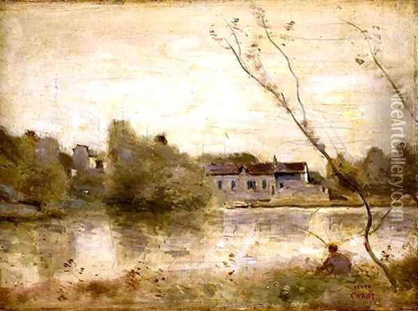 The Pond from the Villa d'Avray, 1865 Oil Painting - Jean-Baptiste-Camille Corot