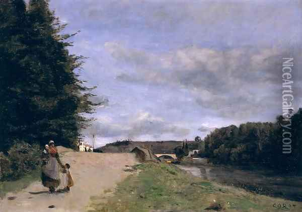 Landscape with Mother and Children Oil Painting - Jean-Baptiste-Camille Corot