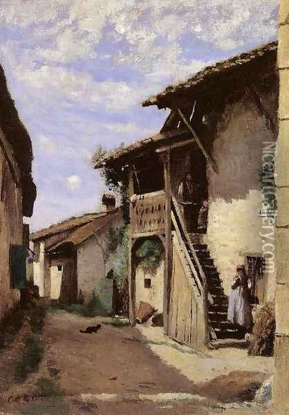 A Village Steeet, Dardagny Oil Painting - Jean-Baptiste-Camille Corot