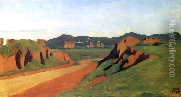 Aqueducts in the Roman Campagna Oil Painting - Jean-Baptiste-Camille Corot