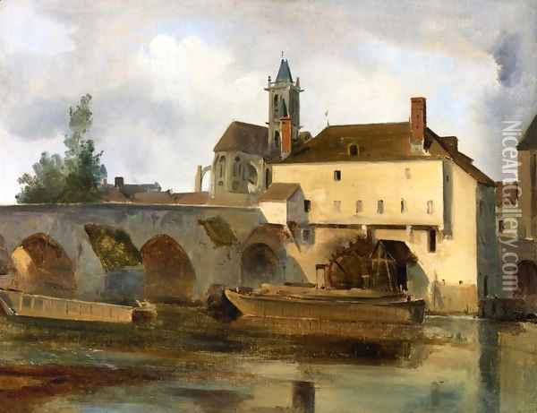 Moret sur Loing, the Bridge and the Church Oil Painting - Jean-Baptiste-Camille Corot