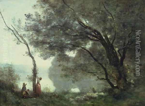 Recollections of Mortefontaine, 1864 Oil Painting - Jean-Baptiste-Camille Corot
