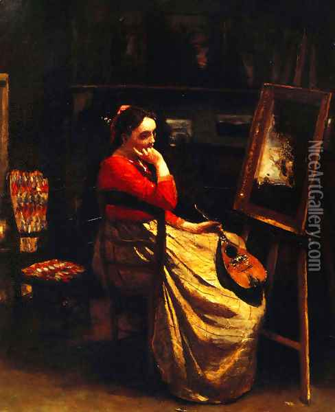 Artist's Studio, Young Woman with a Mandolin Oil Painting - Jean-Baptiste-Camille Corot