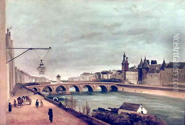 View of the Pont au Change from Quai de Gesvres, Summer 1830 Oil Painting - Jean-Baptiste-Camille Corot