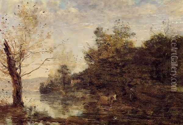 Cowherd by the Water Oil Painting - Jean-Baptiste-Camille Corot