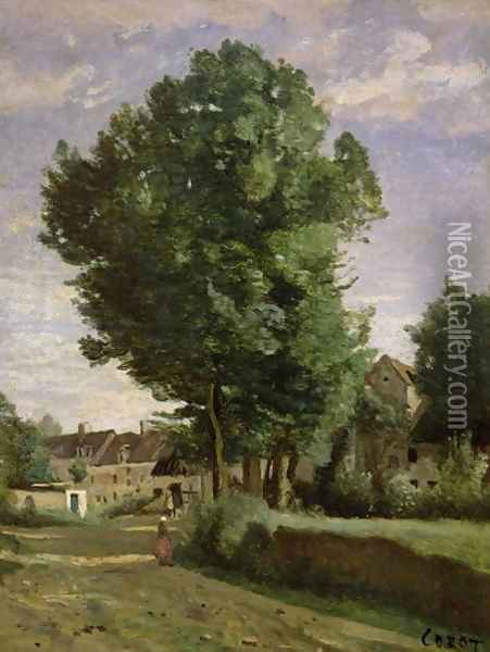 Outskirts of a village near Beauvais, c.1850 Oil Painting - Jean-Baptiste-Camille Corot