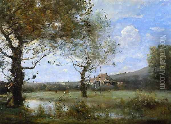 Meadow with Two Large Trees Oil Painting - Jean-Baptiste-Camille Corot