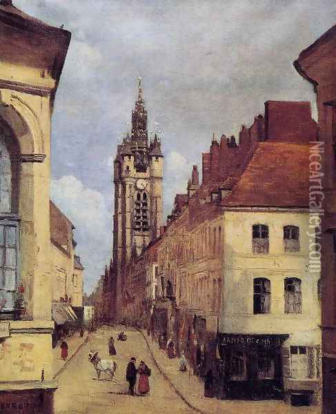 The Belfry of Douai, 1871 Oil Painting - Jean-Baptiste-Camille Corot