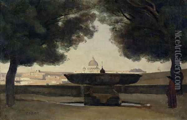 The Fountain of the French Academy in Rome, 1826-27 Oil Painting - Jean-Baptiste-Camille Corot