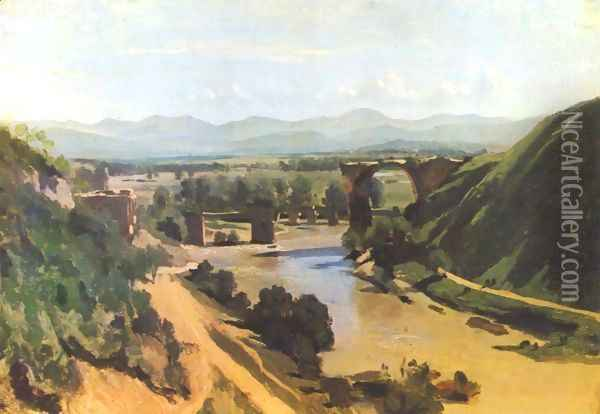 The Augustan Bridge at Narni Oil Painting - Jean-Baptiste-Camille Corot