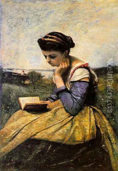 Woman Reading in a Landscape Oil Painting - Jean-Baptiste-Camille Corot
