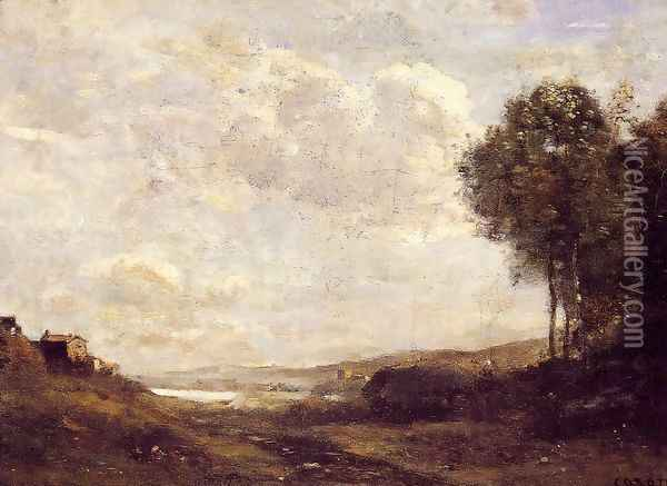 Landscape by the Lake Oil Painting - Jean-Baptiste-Camille Corot
