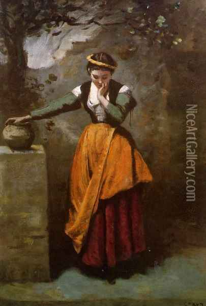 Daydreaming at the Fountain Oil Painting - Jean-Baptiste-Camille Corot