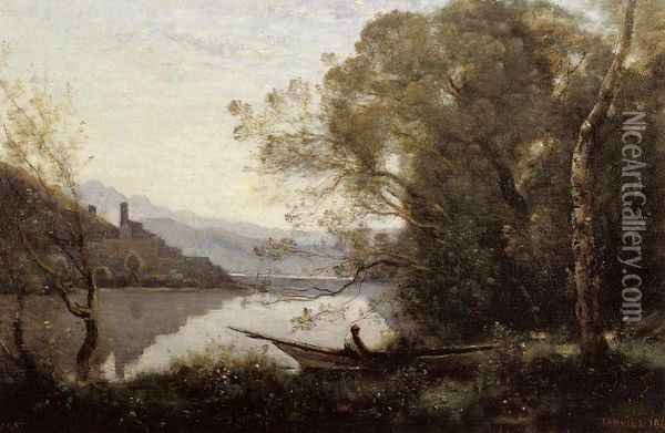 Souvenir of Italy I Oil Painting - Jean-Baptiste-Camille Corot