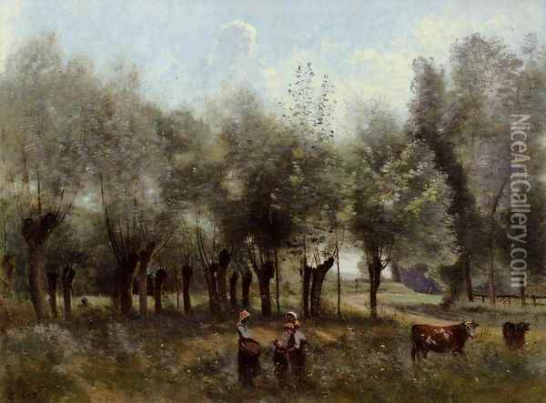 Women in a Field of Willows Oil Painting - Jean-Baptiste-Camille Corot