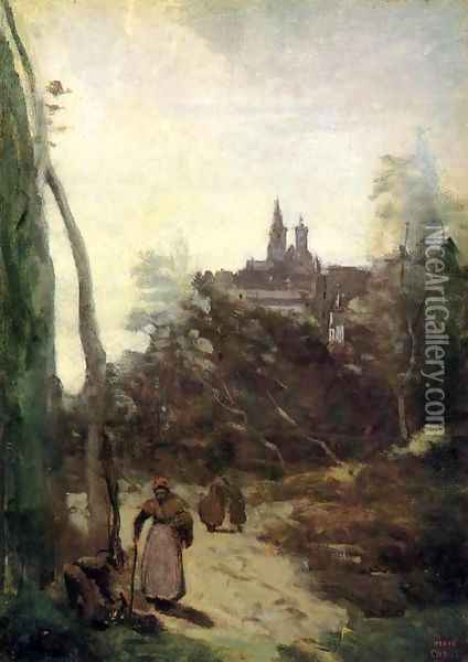 Semur - the Path from the Church Oil Painting - Jean-Baptiste-Camille Corot