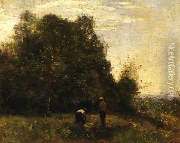 Two Figures - Working in the Fields Oil Painting - Jean-Baptiste-Camille Corot