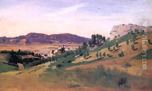 Olevano, the Town and the Rocks Oil Painting - Jean-Baptiste-Camille Corot