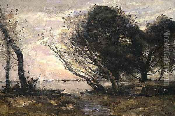 The Banks of the Lake after the Flood, c.1870 Oil Painting - Jean-Baptiste-Camille Corot