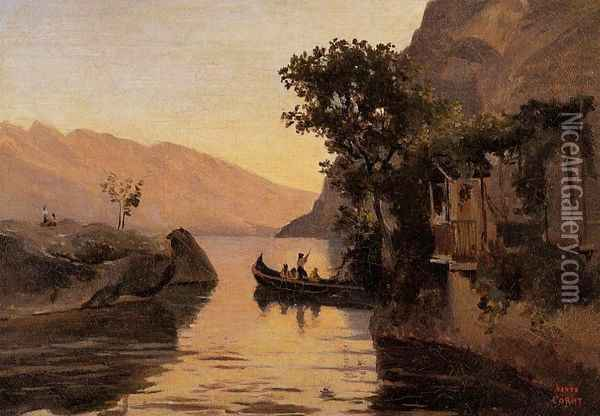 View at Riva, Italian Tyrol I Oil Painting - Jean-Baptiste-Camille Corot