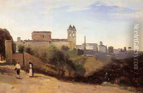 Rome, Monte Pinco, the Trinita dei Monte, View from the Garden of the Academie de France Oil Painting - Jean-Baptiste-Camille Corot