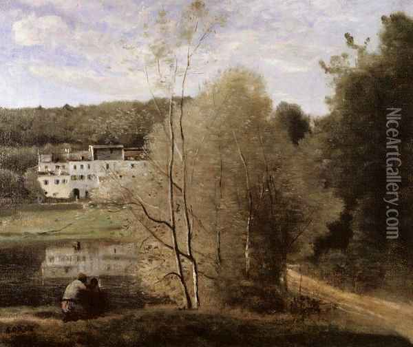The Pond and the Cabassud Houses at Ville-d'Avray Oil Painting - Jean-Baptiste-Camille Corot