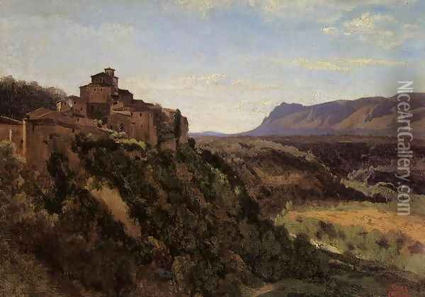 Papigno - Buildings Overlooking the Valley Oil Painting - Jean-Baptiste-Camille Corot
