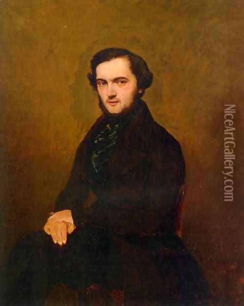 Portrait of a Gentleman Oil Painting - Jean-Baptiste-Camille Corot