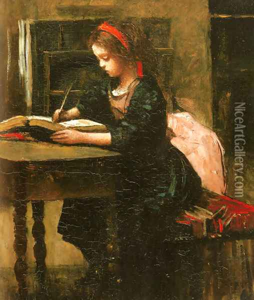 Fillette a l'etude, en train d'ecrire Oil Painting - Jean-Baptiste-Camille Corot
