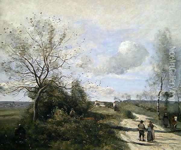 Saintry, near to Corbeil, the white road Oil Painting - Jean-Baptiste-Camille Corot