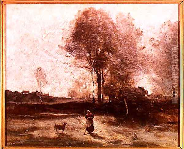 Landscape or, Morning in the Field Oil Painting - Jean-Baptiste-Camille Corot