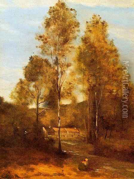 Clearing in the Bois Pierre, near at Eveaux near Chateau Thiery Oil Painting - Jean-Baptiste-Camille Corot