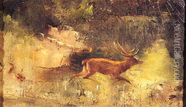 Stag Running through a Wood, c.1865 Oil Painting - Jean-Baptiste-Camille Corot