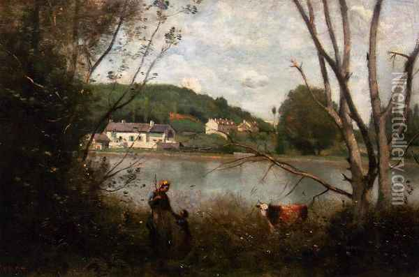 Cowherd and Her Child Oil Painting - Jean-Baptiste-Camille Corot