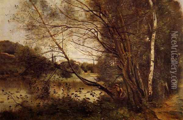 Pond at Ville d'Avray, with Leaning Trees Oil Painting - Jean-Baptiste-Camille Corot